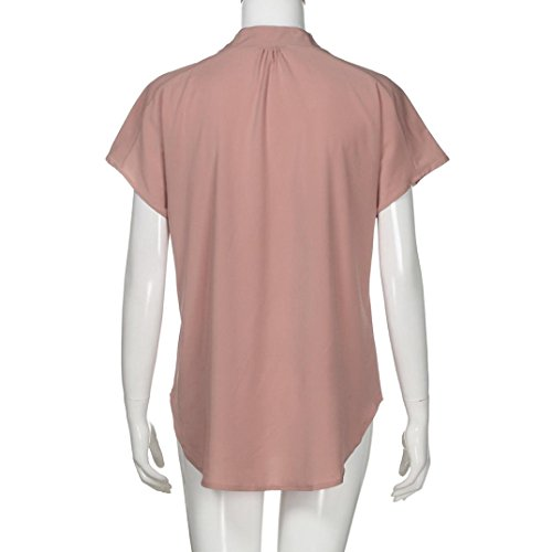 Shirt Womens da Summer donna Short Fami Casual ❤️ Rosa Tops Sleeve Blouse T Chiffon Shirt Camicetta WUgvqAv
