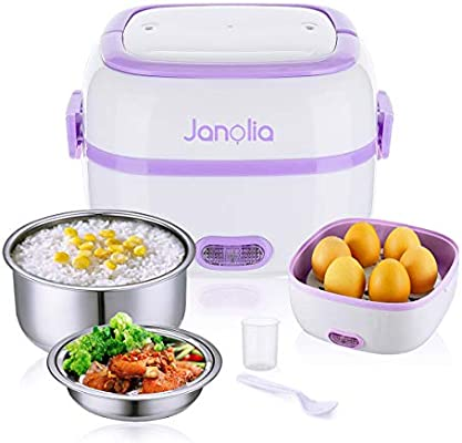 8f44c42cdd Amazon.com: Janolia Electric Food Steamer, Portable Lunch Box Steamer with  Stainless Steel Bowls, Egg Steaming Rack, Spoon, Measuring Cup: Kitchen &  Dining