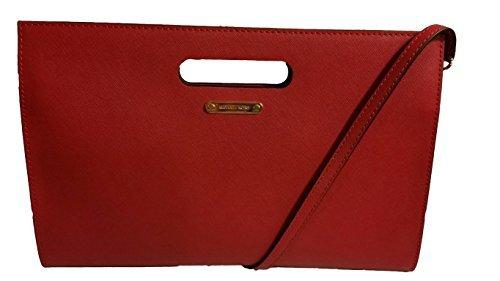 Michael Kors Red Saffiano Exta Large XL Leather Tilda Clutch