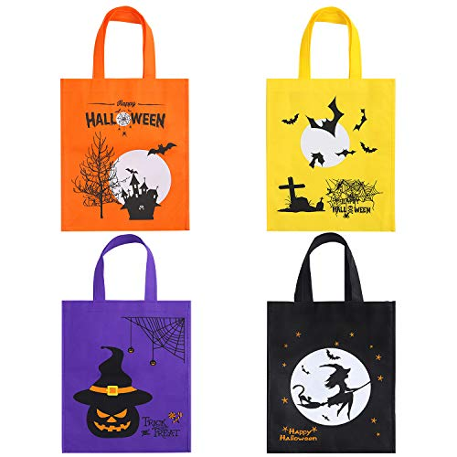 Elcoho 4 Pieces 13.8 by 11 Inches Halloween Non-woven Bags Halloween Party Goody Tote Bags Trick or Treat Bags Gift Bag with Handles for Party Favors, 4 Colors