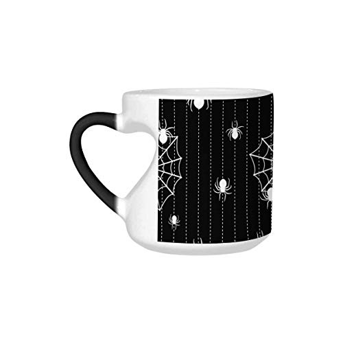InterestPrint Halloween Background with Spiders and Web Heat Sensitive Color Changing Mug, Funny Morphing Travel Coffee Mug for Boys Girls Friends Father's Day Gifts, 10.3 Ounce Heart Shaped Mug