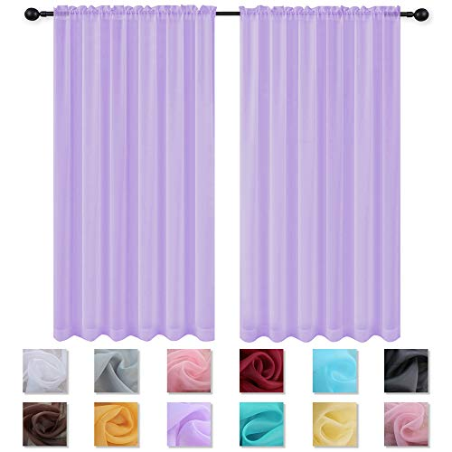 (KEQIAOSUOCAI Purple Sheer Curtains 63