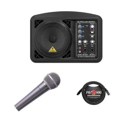 Behringer Eurolive B205D Multi-purpose 150 Watt Active PA and Monitor Speaker System - Bundle With Behringer ULTRAVOICE XM8500 Cardioid Vocal Microphone, 15' 8mm XLR Microphone Cable by Behringer