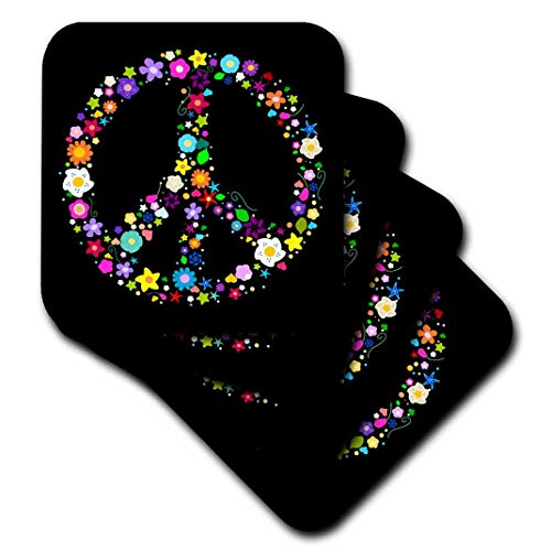 3dRose cst_58312_3 Floral Peace Symbol-Flowery Hippy or Hippie Sign-Colorful Flowers-Ceramic Tile Coasters, Set of 4