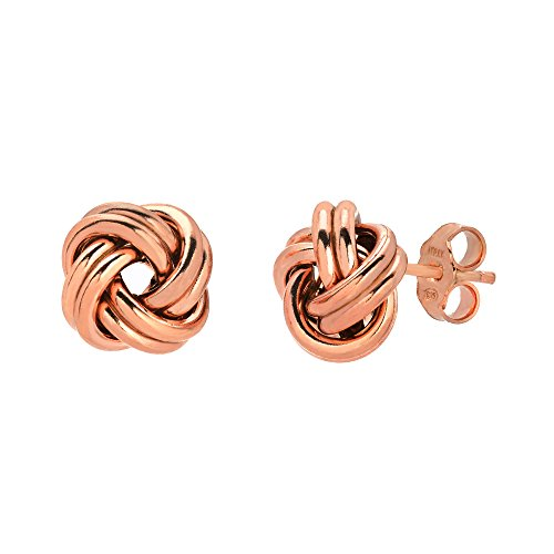925 Sterling Silver Love Knot Stud Earrings Rose Gold Plated Made in Italy (Infinity Knot Earrings)