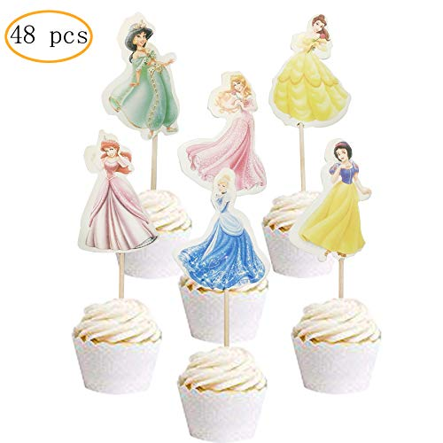 48PCS Princess Cupcake Toppers for Kids Birthday Party Cake Decoration