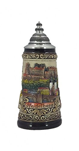 German Beer Stein Heidelberg relief stein 0.5 liter tankard, beer mug, with certificate by ISDD Cuckoo Clocks