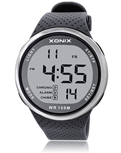 Resin Dive Case Watch (TOMORO Vogue Men's 100M Waterproof TPU Resin Band Large Digits Digital Dive Outdoor Sports Watch (Can Be Pressed Underwater) (Grey))