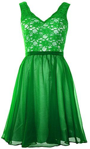 MACloth Women Halter Pleated Chiffon Long Prom Dress Wedding Party Formal Gown Verde