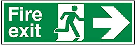 Self Adhesive Vinyl 450mm x 150mm VSafety Fire Exit Arrow Right Sign