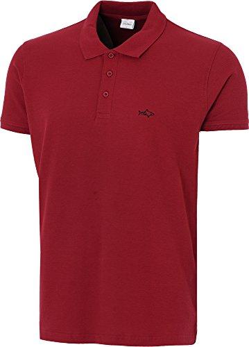 John Shark Polo Shirts For Men Cotton Classic Embroidered Logo (L, Garnet Burgundy) Cotton Embroidered Oxford Shirt