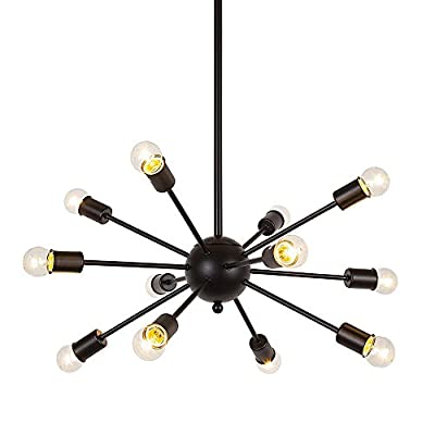 BIG PROMO LINSGROUP Sputnik Chandelier 12/18 Light Mid-Century Industrial Retro Vintage Mental Texture Antique Hanging Ceiling Pendant Light Living Room Restaurant Bar Cafe Lighting in Painted Finish