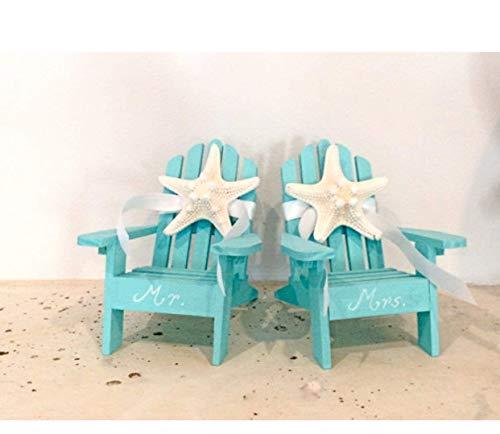 Beach Wedding Cake Topper - 2 Mini Adirondack Chairs with Natural Starfish ()