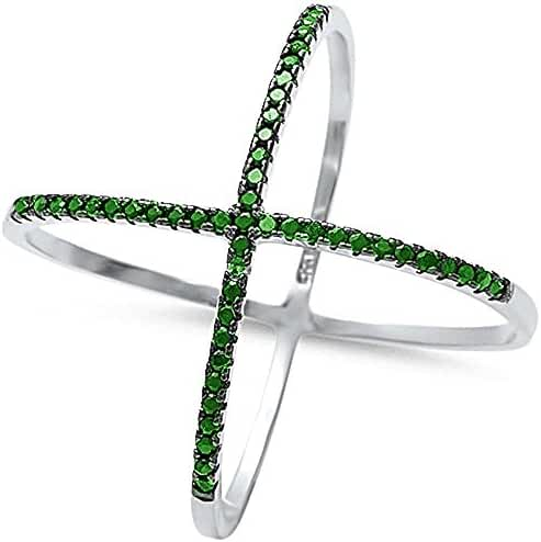 Sterling Silver Criss Cross Simulated Green Emerald Open Trendy Ring sizes 6-12