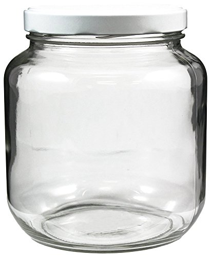 64oz Clear Wide-mouth Glass Jar, BPA free Food Grade w/ White Metal Lid (Half Gallon); 2 Quart Jar to Make Greek Yogurt / Kefir or Pickles