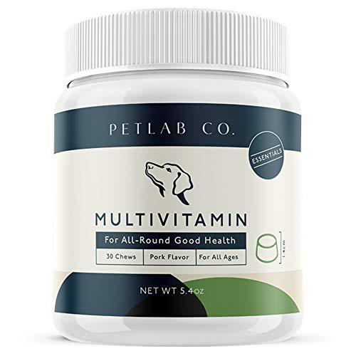 Pet Lab Multivitamin Chews | Chewable Dog Vitamin Treats and Supplements for Healthy Canine Coat Skin Immune Muscle Joint Support | Zinc Copper Manganese Iron