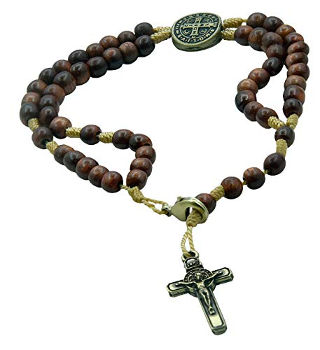Gallery Beaded Bracelets - Catholica Shop San Benito Saint Benedict Medal Beaded Rosary Bracelet (Metal Cross)