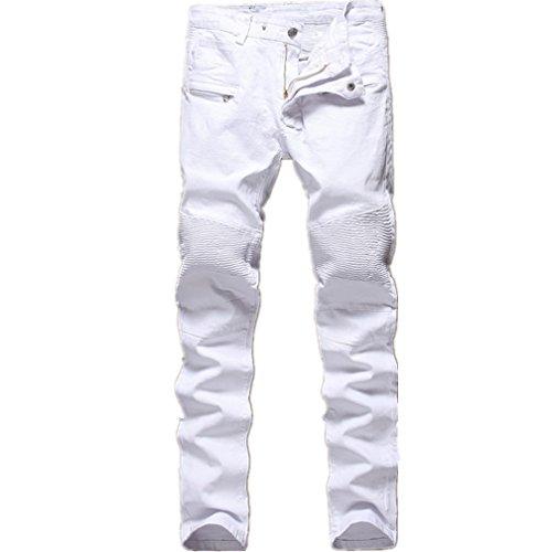 Men's White Biker Jeans Slim Straight Stretch Skinny Fit Moto Denim Jeans,W38,White by Qazel Vorrlon