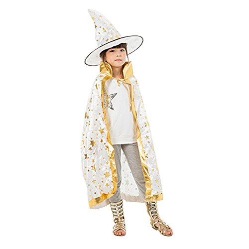 [Fashionclubs Kids Halloween Cosplay Costumes Star Cloak Cape With Witch Hat (White)] (Halloween Witch Costumes Kids)