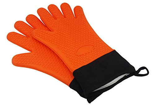 Silicone Cooking Gloves - Full Finger, Hand, Wrist Protection - Heat Resistant Oven Mitt for Grilling, BBQ, Kitchen - Cooking & Baking Non-Slip Potholders -Internal Protective Cotton Layer(Orange)