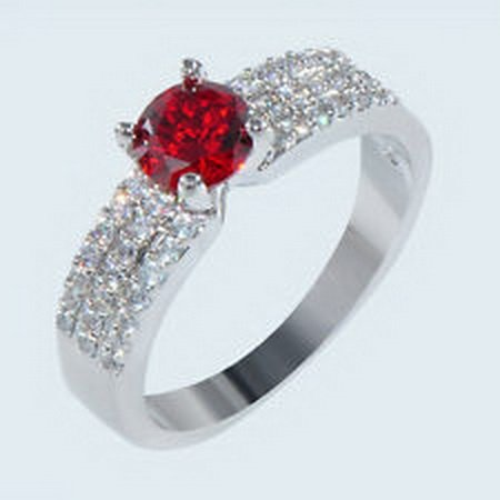 jacob alex ring Pave Set Inlay 10kt White Gold Filled Wedding Band Garnet Zirconia Wedding (Garnet Inlay)