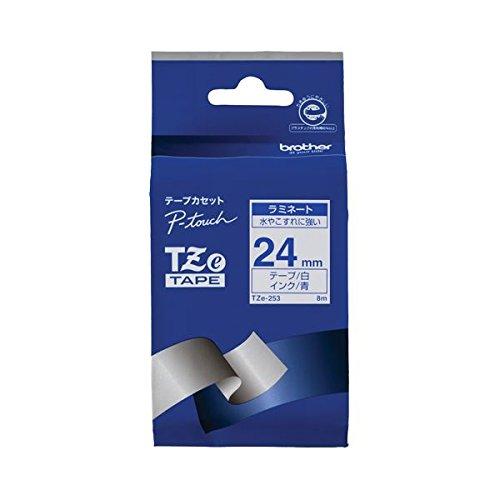 ブラザー ピータッチ TZeテープ ラミネートテープ 24mm 白/青文字 TZE-253 1個 ×6セット B077MDZXR3