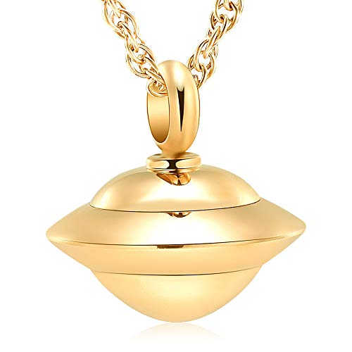 Keepsake Man - shajwo Cremation Jewelry Spaceship Shape Memorial Urn Necklace for Human&Pet Ashes Holder Stainless Keepsake Jewelry for Women Man Free 20 Inch Chain+Fill Kit (Gold)