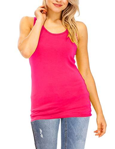 (Vuetique Women's Everyday Solid Scoop Neck Sleeveless Tank Top Hot Pink XL)