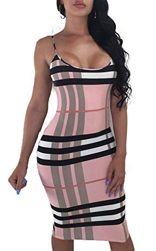 tamaño de out Grande Tirantes con Color Rayas Mujer Club de a Estampado Night Rosado Mini Cuadros de Vestido Krere de Bodycon Espagueti R41nq5Zqw