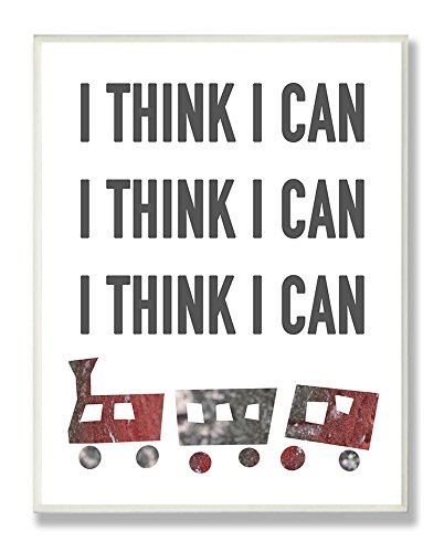 Stupell Home Décor I Think I Can Train Typography Rectangle Wall Plaque, 11 x 0.5 x 15, Proudly Made in USA -  Stupell Decor, BRP-1675_WD_10X15