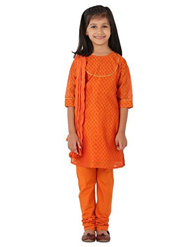 Fabindia Girls Cotton Silk Churidar Set/12-14Yr by Fabindia