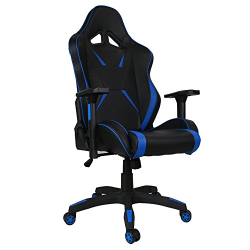 [Upgrade to Large Size] Kinsal Gaming Chair High-back Computer Chair, Ergonomic Racing Chair, Leather Premium Swivel Executive Office Chair Including Headrest and Lumbar Pillow (Blue/Black) by Kinsal