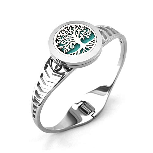 Lademayh Aromatherapy Essential Oils Diffuser Bracelet Tree of Life Diffuser Locket Jewelry, 25mm Stainless Steel Perfume Diffuser Cuff Bracelet with 12 Felt Pads