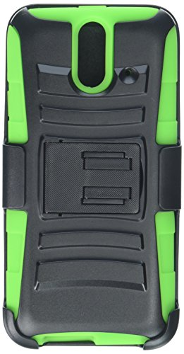 Eagle Cell Hybrid Protective Case Stand/Belt Clip Holster for HTC One E8 - Retail Packaging - Green/Black (Htc Green One E8 Case)