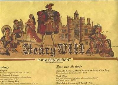 Henry VIII Pub & Restaurant Dinner Menu on a Scroll Southampton Bermuda
