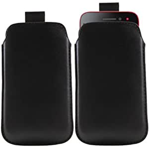 Bloutina iTALKonline BLACK Quality PU Leather Slip Pouch Protective Case Cover with Pull Tab For Nokia Lumia 820