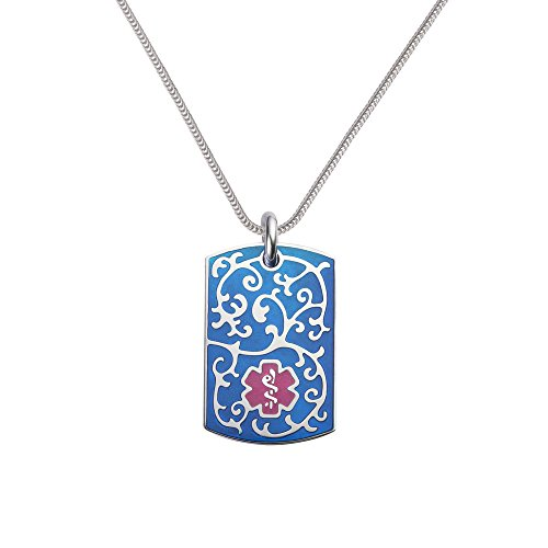 Divoti Custom Engraved 316L Filigree Medical Alert Necklace -Dog Tag-24