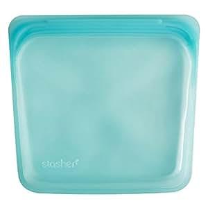 Stasher Reusable Silicone Food Bag, Sandwich Bag, Sous vide Bag, Aqua