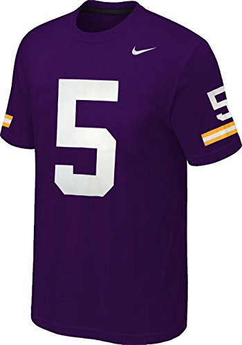 Nike Louisiana State Tigers LSU #5 Player Jersey Graphic Loose Fit T-Shirt (Purple, Large)