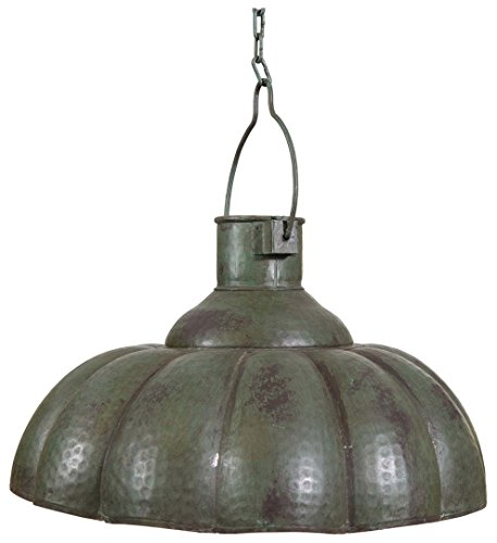 Biscottini Industrial Iron Made Antiqued Green Finish W46xDP46xH27 cm Sized Non Electrified Suspended Chandelier