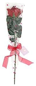 Closer To Nature F001RD - Rosa artificial de seda envuelta para regalo, incluye tarjeta y lazo, color rojo intenso