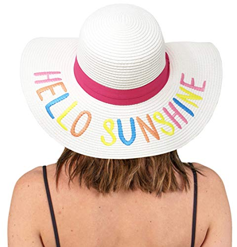 H-2017-HS09M Embroidered Sun Hat: Hello Sunshine, White/Rainbow for $<!--$19.99-->