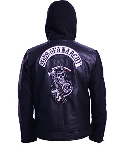Ca Man Hoody - Mens CA SOA Anarchy Motorcycle Leather Hoodie (L) Black