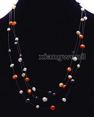 FidgetKute 6-7mm Baroque Multicolor Natural FW Pearl 3 Strands 18
