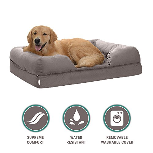 Petlo Orthopedic Mattress Pet Sofa Bed   Solid Memory Foam Couch For Medium   Large Dogs   Cats With Washable Removable Cover  36  X 28  X 9   Grey