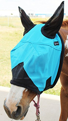 CHALLENGER Equine Horse Fly Mask Summer Spring Airflow Mesh UV Mosquitoes Turquoise 73203 ()