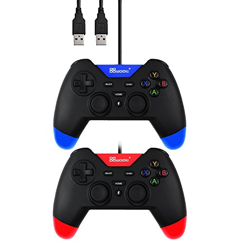 Doklos USB Wired Gaming Controller with Dual-Vibration Turbo for PS3 / PC (Windows XP / 7 / 8 / 8.1 / 10) / Android / TV Box (BlackRed and BlackBlue)