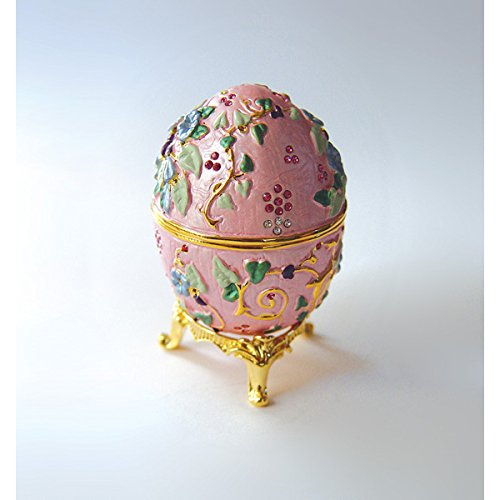 Pink Faberge Egg Flowered Style Set with Swarovski Crystals, Includes Ring Insert! Trinket, Engagement, Box, Ring, Jewelry -