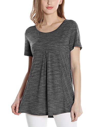 Messic Women's Short Sleeve Scoop Neck Pleated Soft Lightweight Knitted T-Shirt Tunic Tops