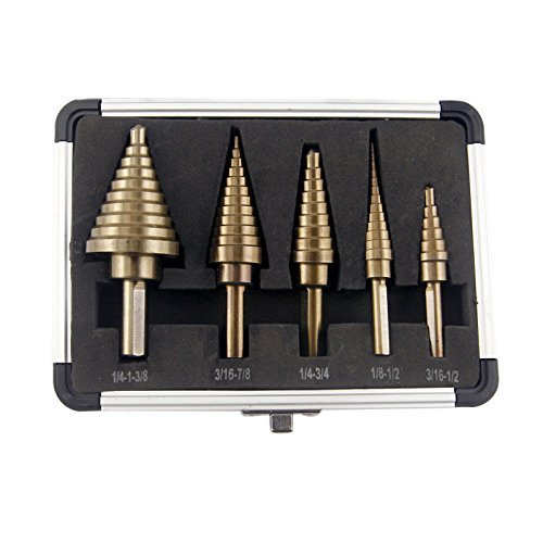 CO-Z 5pcs Hss Cobalt Multiple Hole 50 Sizes Step Drill Bit Set with Aluminum Case